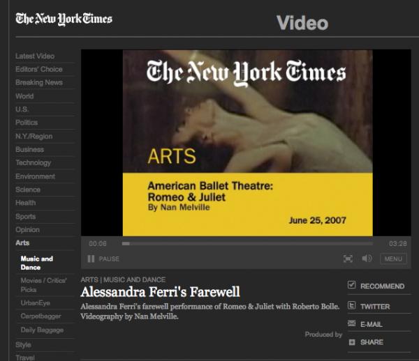 NY Times Video: Alessandra Ferri's Farewell, 2007