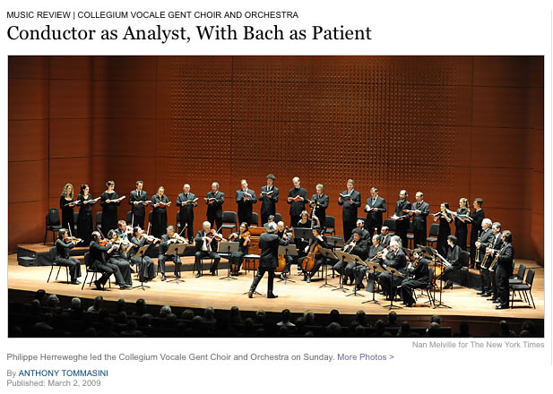 Collegium Vocale Gent Choir and Orchestra, Alice Tully Hall; 2009