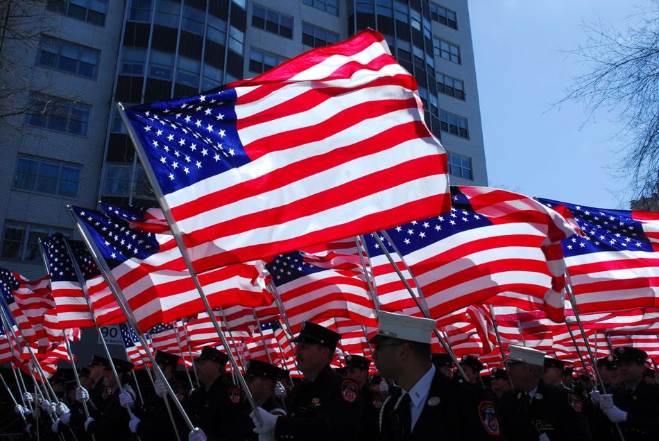 American Flag at Irish Day Parade, New York, 2009