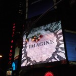 IMAGINE; mosaic, John Lennon, screen projection in Times Square, New York, 2007