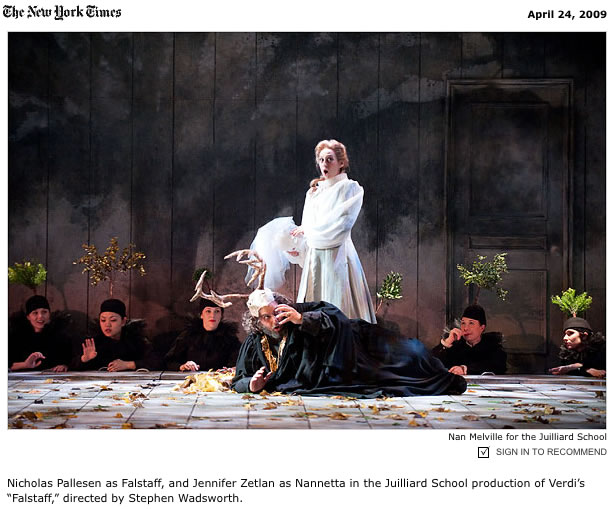 Juilliard, 'Falstaff' Opera, NYTimes Review, 2009