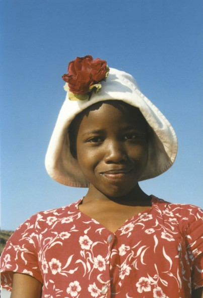 Elsie in her flower hat, Fish Hoek, South Africa, 2007