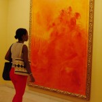 Study in Orange, Yanelis and painting, Museo Nacional De Bellas Artes, Havana