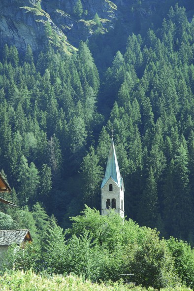 Beautiful church spire with trees on mountain, Gressoney, Italy, 2006