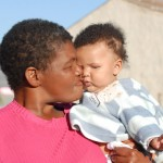 Love moment between grandmother and toddler, Barrydale