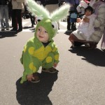 Child dressed as Easter bunny, parade 5 Avenue, New York, 2009