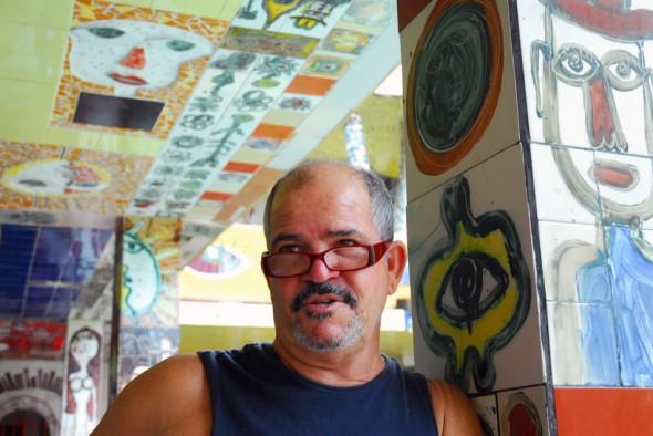 José Rodríguez Fuster, artist paints, engraves, sketches; one of Cuba's most original ceramists, studio in Jaimanitas, 2006