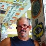 José Rodríguez Fuster, artist paints, engraves, sketches; one of Cuba's most original ceramists, studio in Jaimanitas, 2006