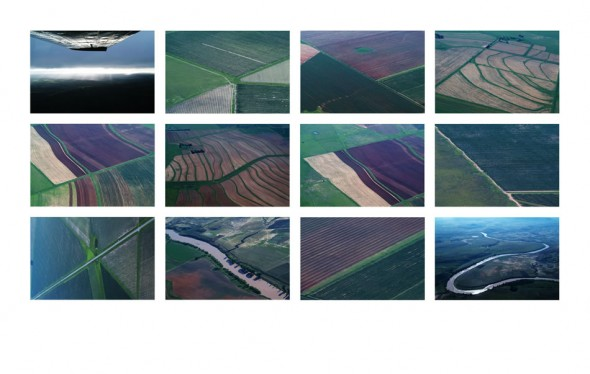 Landscape photo quilt from plane, South Africa, 2003