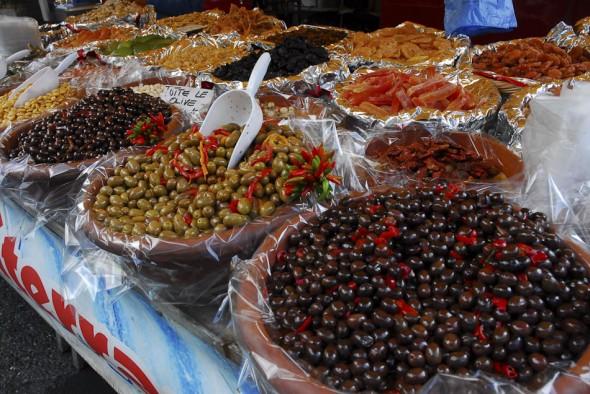 Olives at farmers market, Gressoney, Italy