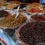 Olives at farmers market, Gressoney, Italy