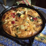 Frittata, type of Italian omelet, egg and vegetables, cheese