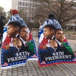 Barack Obama supporters wear presidential towels, inauguration memorabilia