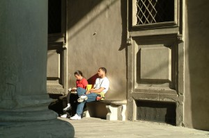 Tourists relax, Florence, Italy, 2006