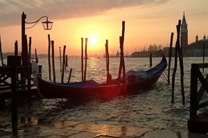 Gondolas, Sunrise, Venice, Italy, 2006