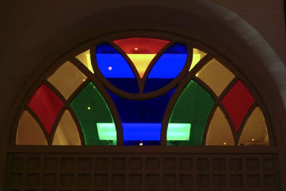 Stained glass window, halfmoon shape, Havana, Cuba, 2006