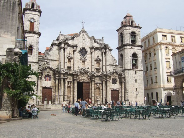 The harmonious facade of Havana Cathedral overlooks the Plaza de la Catedral