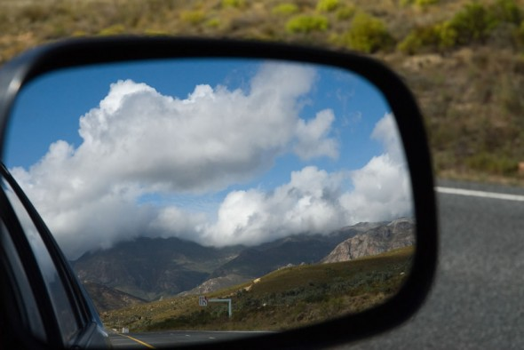 Reflection; car rearview mirror; Montagu