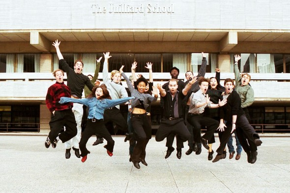Juilliard Drama Students on Lincoln Plaza