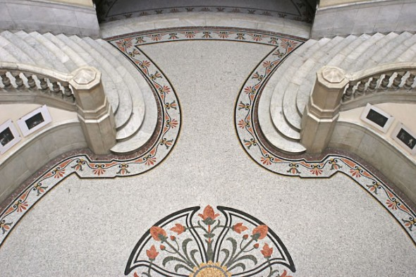 Mosaic Floor, Marble Stairs, Grand Theatre Garcia Lorca, Havana, Cuba, 2004