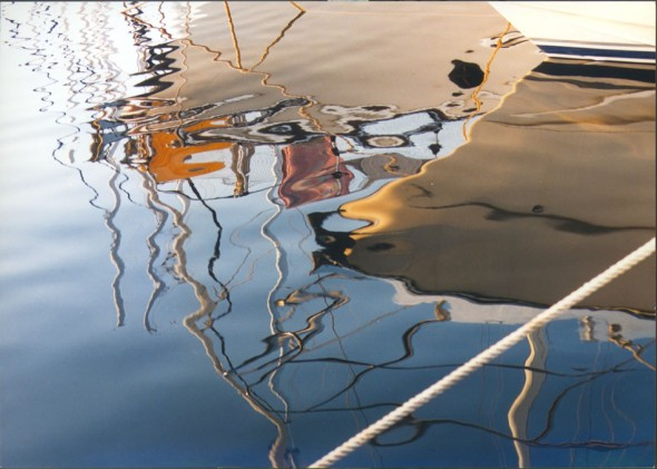 Reflection of boats in beautiful Croatian waters, Korcula, 2003