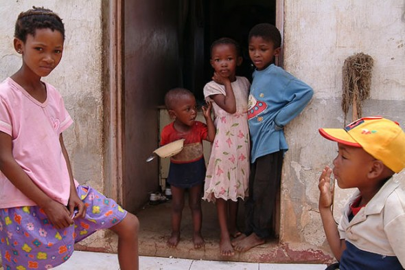 Children of farm labourers on farm, Kimberley, South Africa, 2007
