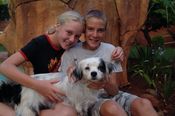 Mark and Christine with dog, Kimberley, South Africa, 2006
