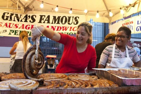 Gina's famous Italian sausage, San Gennaro festival, New York